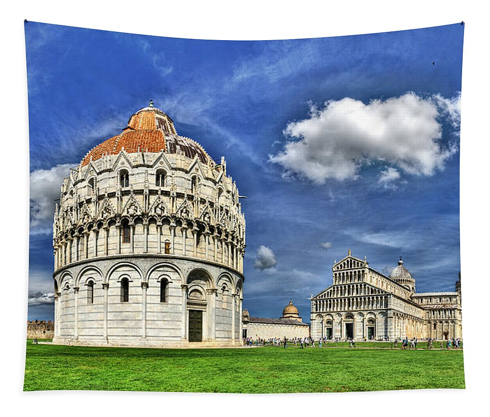 Pisa Tapestry featuring the photograph Pisa - Baptistry Duomo And Leaning Tower by Weston Westmoreland