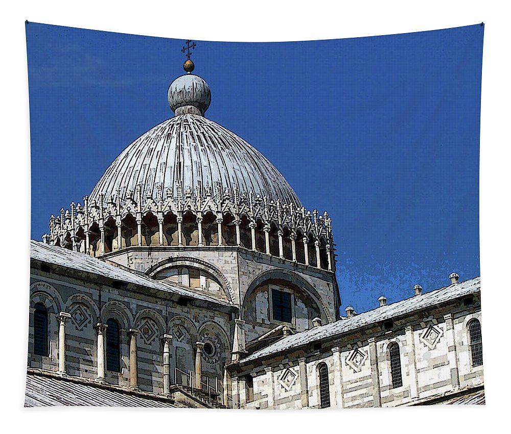 Pisa Tapestry featuring the photograph Pisa Cathedral Dome by Debbie Oppermann