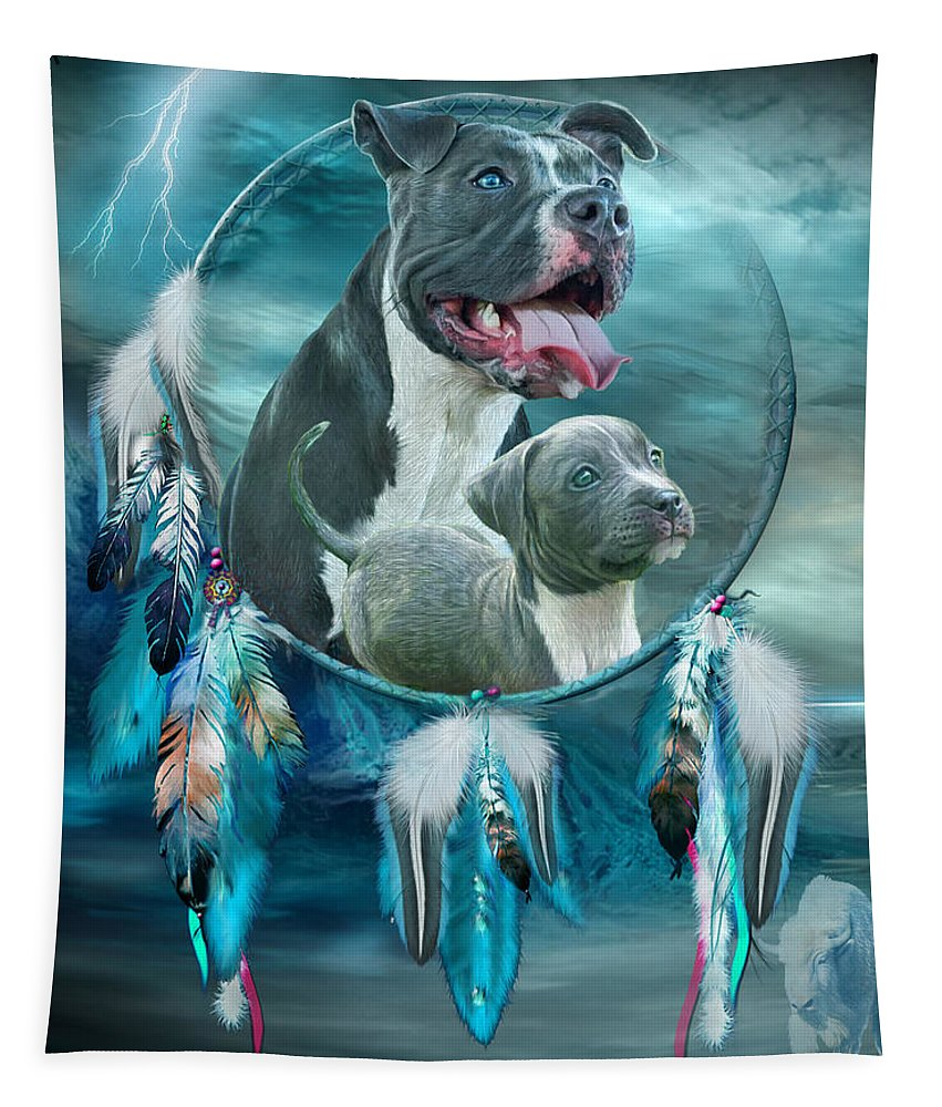 Rez Dog Cover Art Tapestry featuring the mixed media Pit Bulls - Rez Dog by Carol Cavalaris