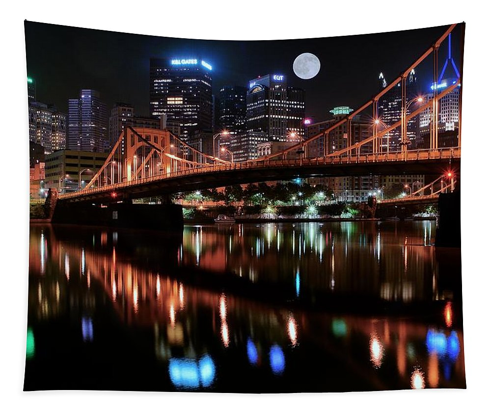 Pittsburgh Tapestry featuring the photograph Pittsburgh Full Moon by Frozen in Time Fine Art Photography