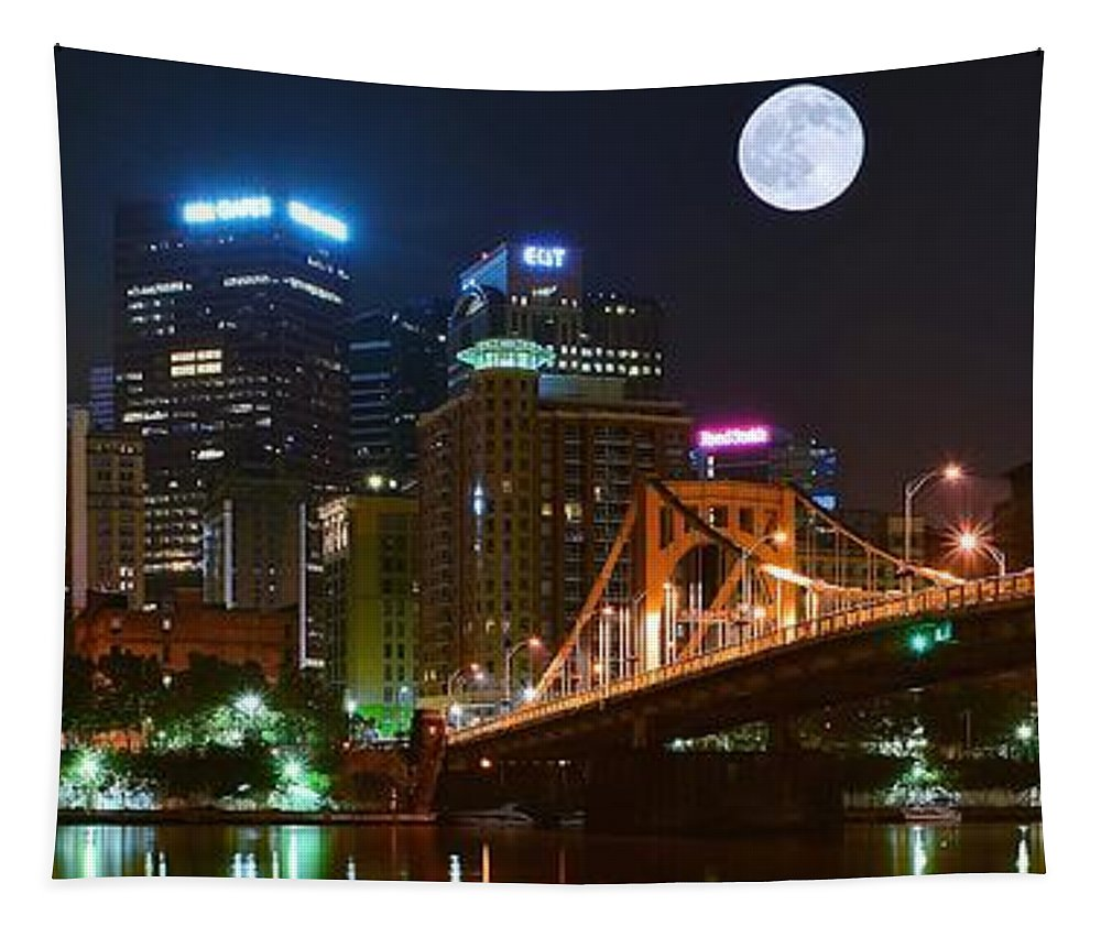 Pittsburgh Tapestry featuring the photograph Pittsburgh Full Moon Panoramic by Frozen in Time Fine Art Photography