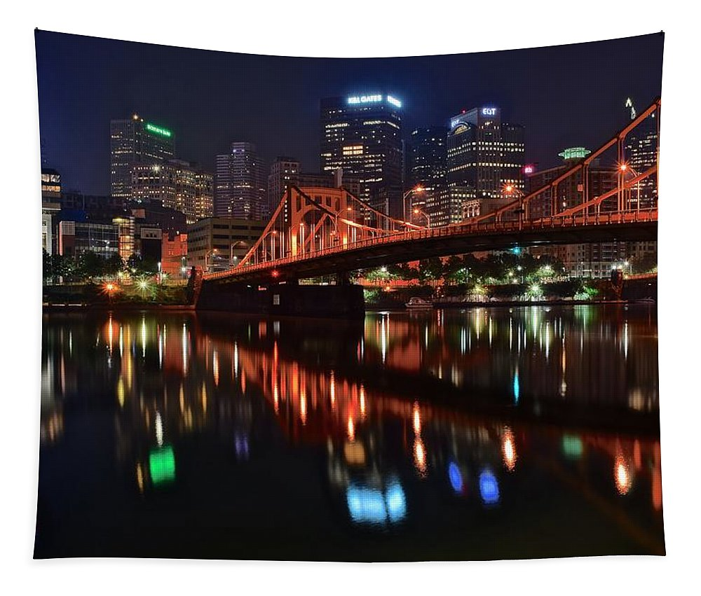 Pittsburgh Tapestry featuring the photograph Pittsburgh Lights by Frozen in Time Fine Art Photography