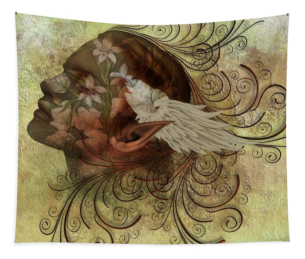 Fantasy Tapestry featuring the digital art Pixie Flora by Ali Oppy