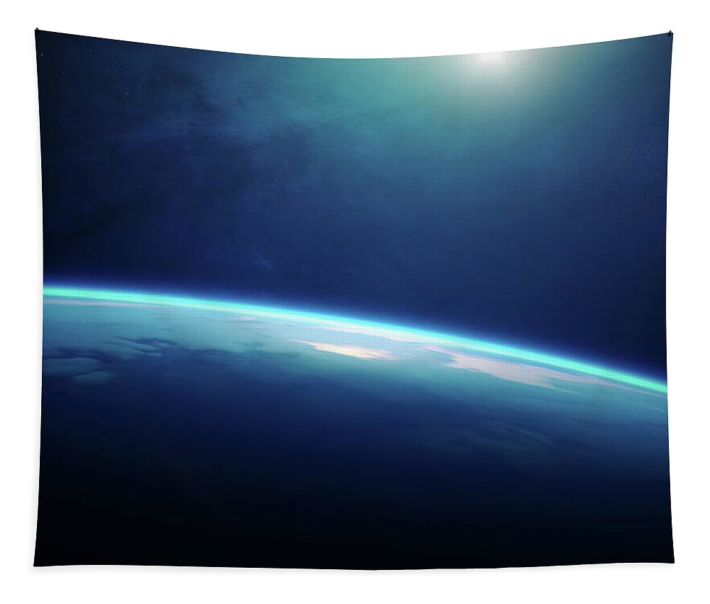 Earth Tapestry featuring the photograph Planet Earth Sunrise From Space by Johan Swanepoel