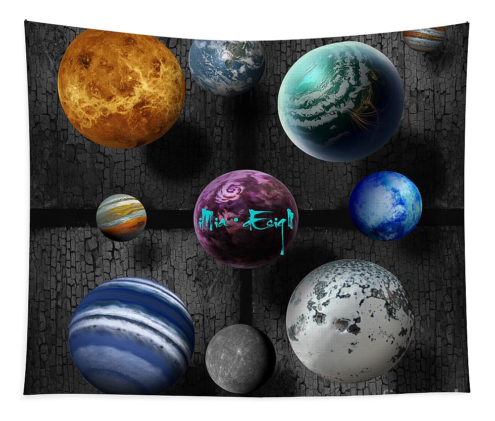 Imia Design Tapestry featuring the mixed media Planets by Maria Astedt