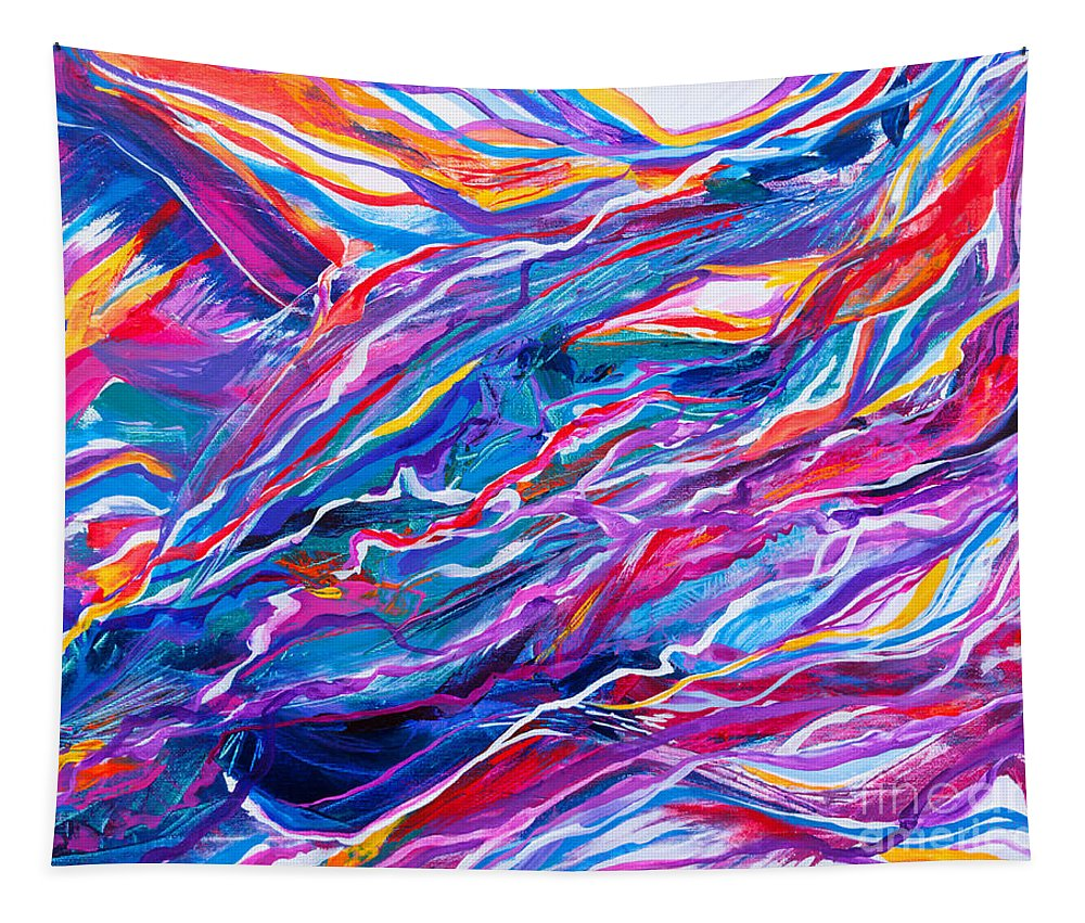 Filaments Lines Strokes Rushing Water Full Of Vibrant Color And Dynamic Movement Energy Contemporary Original Abstract Tapestry featuring the painting Playful stream by Priscilla Batzell Expressionist Art Studio Gallery