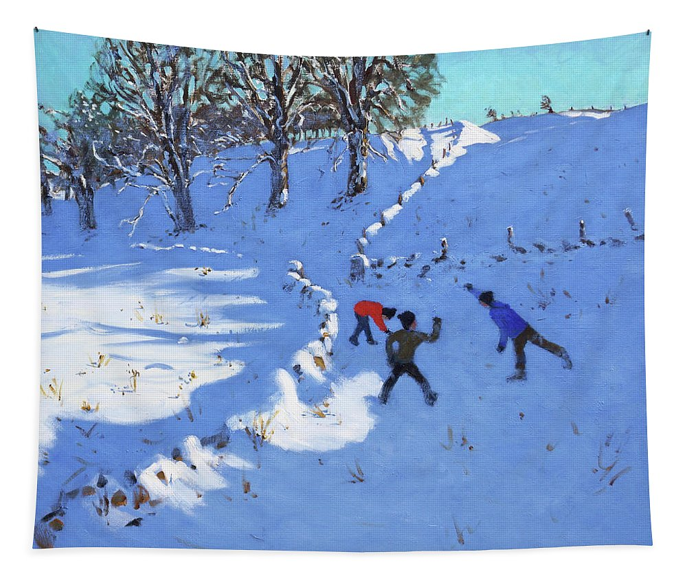 Throwing Snowball Tapestry featuring the painting Playing In The Snow Youlgrave, Derbyshire by Andrew Macara