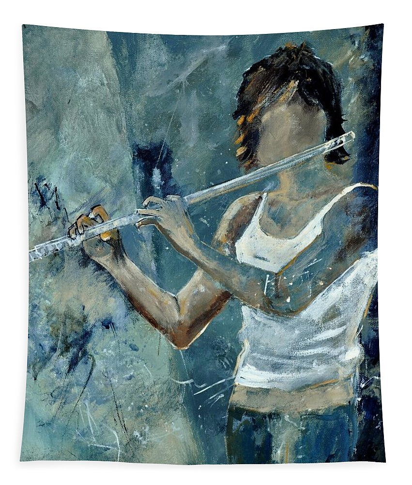 Music Tapestry featuring the painting Playing The Flute by Pol Ledent