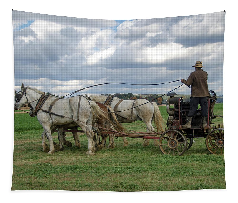 Tapestry featuring the photograph Plowing In Lancaster County by Eleanor Bortnick