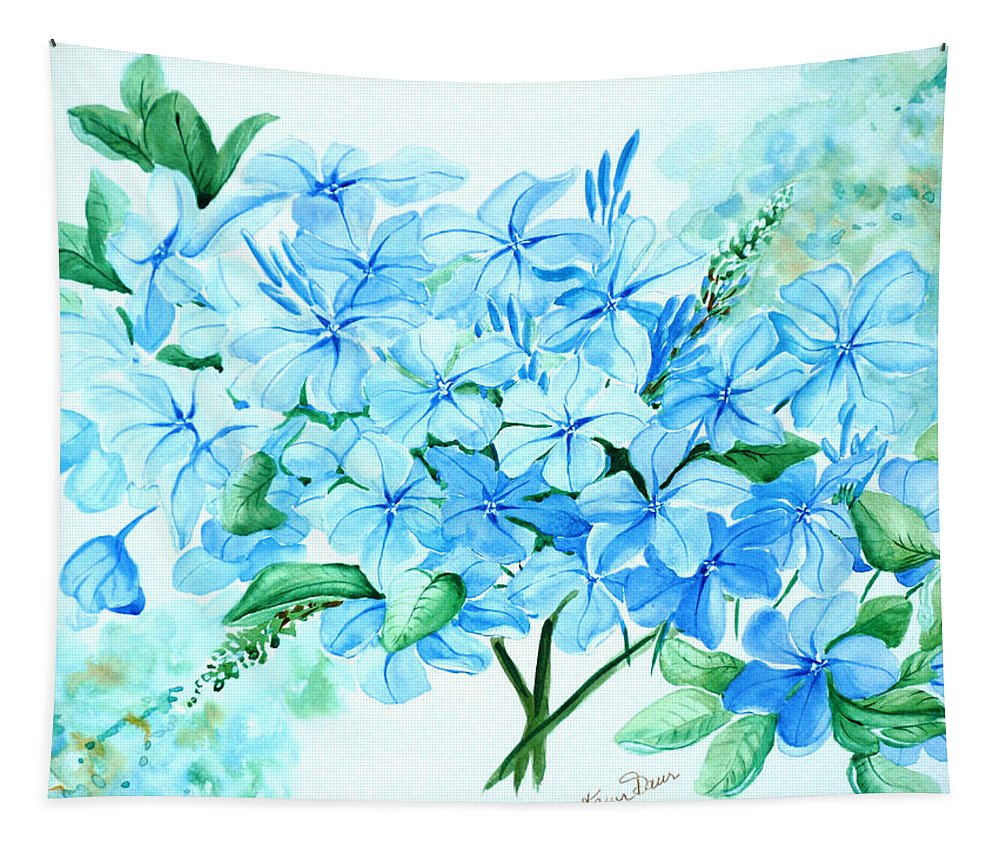 Floral Blue Painting Plumbago Painting Flower Painting Botanical Painting Bloom Blue Painting Tapestry featuring the painting Plumbago by Karin Dawn Kelshall- Best