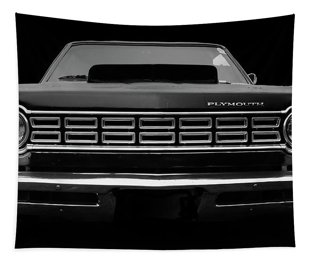 Plymouth Fury Tapestry featuring the photograph Plymouth Fury - Black by Philip Openshaw