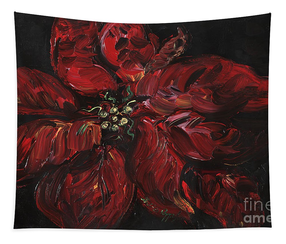 Abstract Tapestry featuring the painting Poinsettia by Nadine Rippelmeyer
