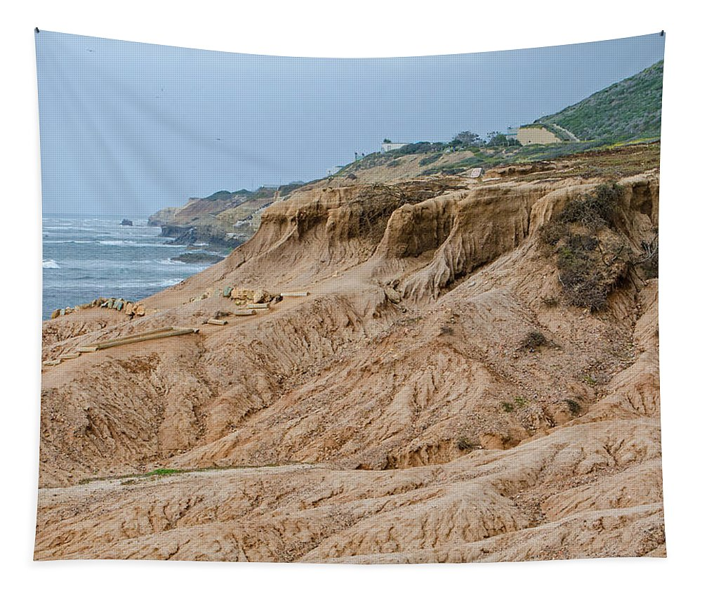 Point Loma Coastline Tapestry featuring the photograph Point Loma Coastline by Susan McMenamin