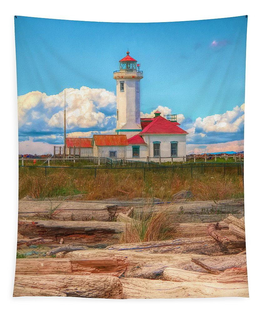Driftwood Tapestry featuring the painting Point Wilson Lighthouse And Driftwood by Dan Sproul