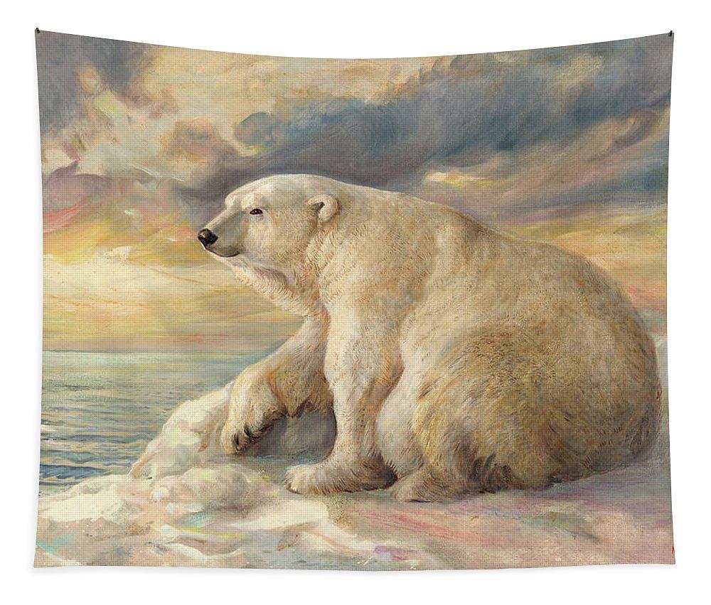 Polar Bear Tapestry featuring the painting Polar Bear Rests On The Ice - Arctic Alaska by Svitozar Nenyuk