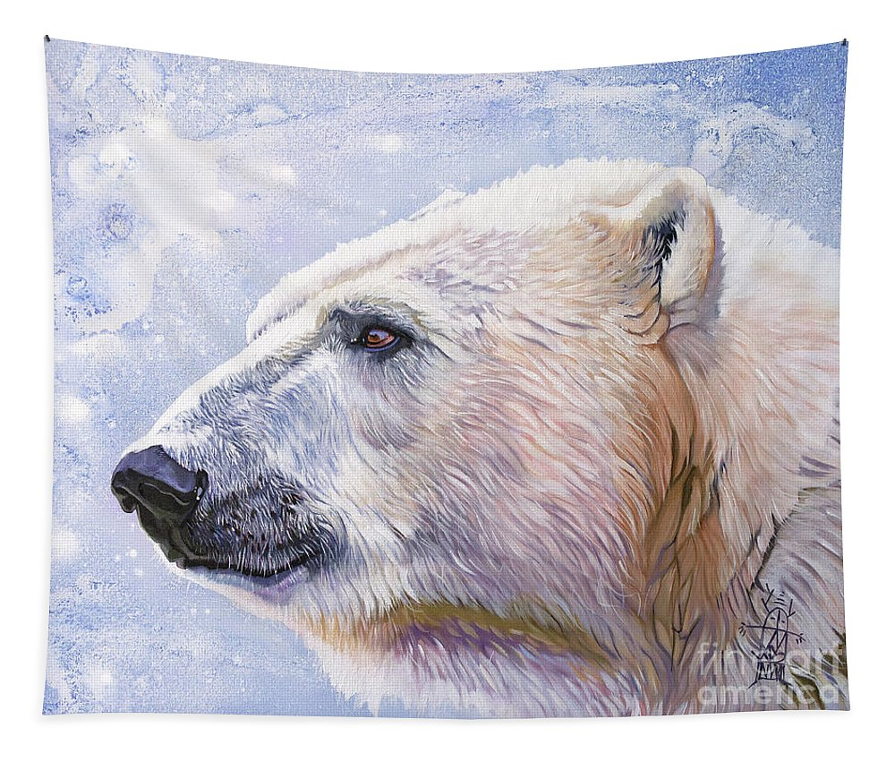 Polar Bear Tapestry featuring the painting Polar Blue by J W Baker