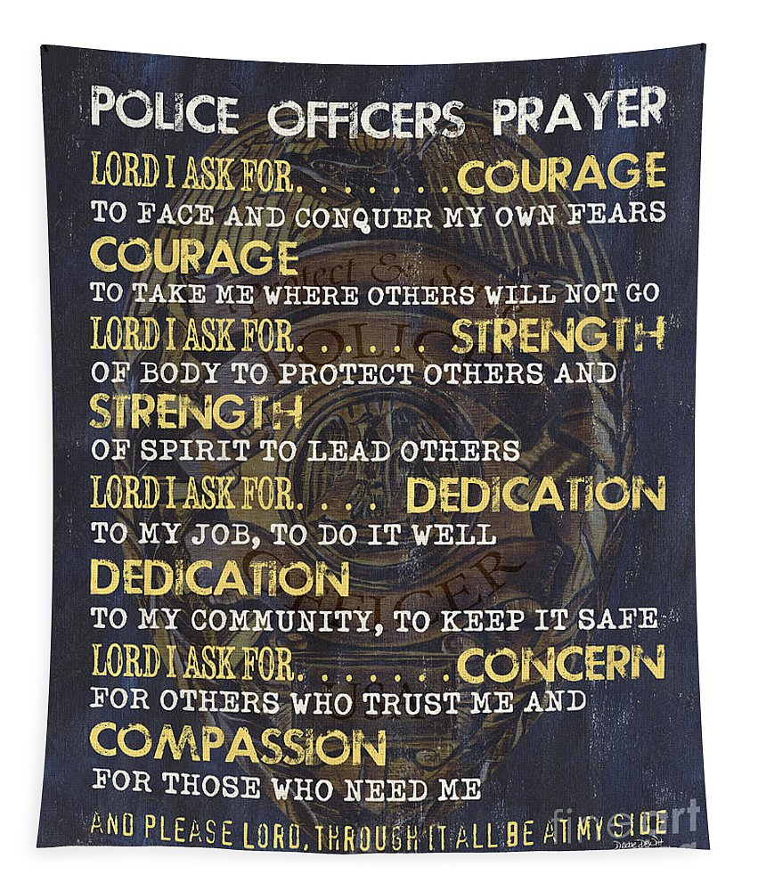 Police Tapestry featuring the painting Police Officers Prayer by Debbie DeWitt