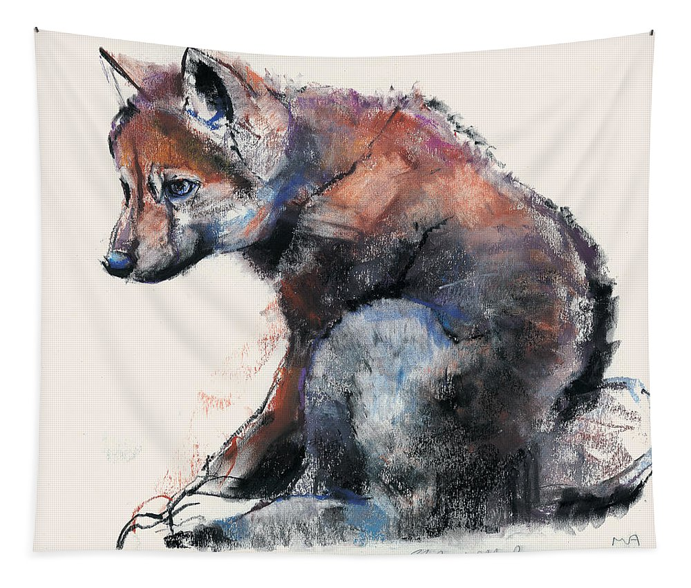 Puppy Tapestry featuring the painting Polish Wolf Pup by Mark Adlington
