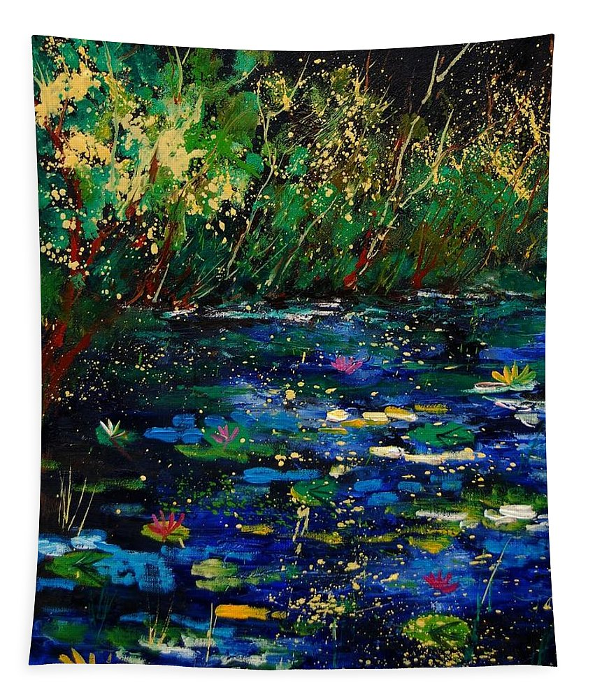 Water Tapestry featuring the painting Pond 459030 by Pol Ledent