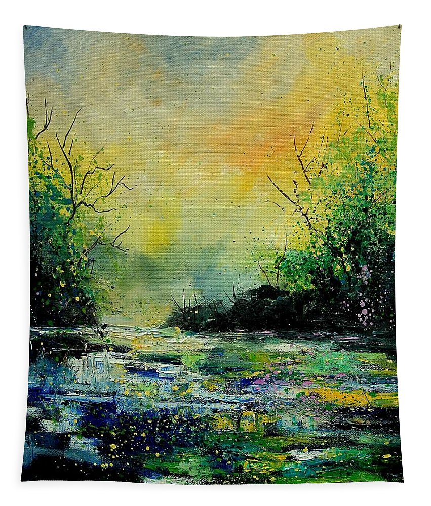 Water Tapestry featuring the painting Pond 459060 by Pol Ledent