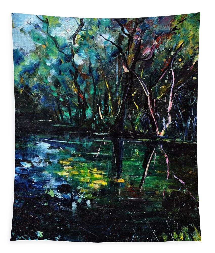 Landscape Tapestry featuring the painting Pond 944 by Pol Ledent