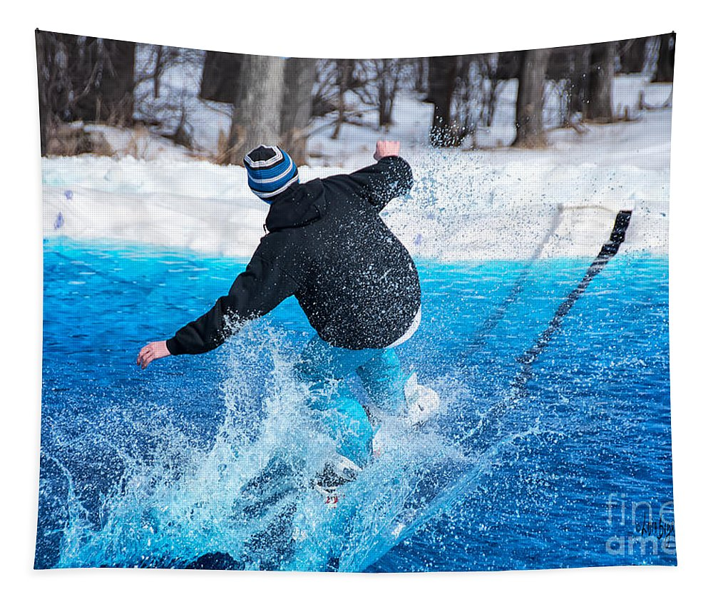 Sport Tapestry featuring the photograph Pond Skimming by Lois Bryan