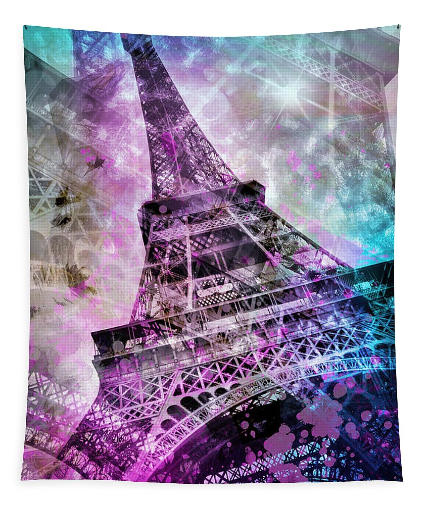 Europe Tapestry featuring the photograph Pop Art Eiffel Tower by Melanie Viola