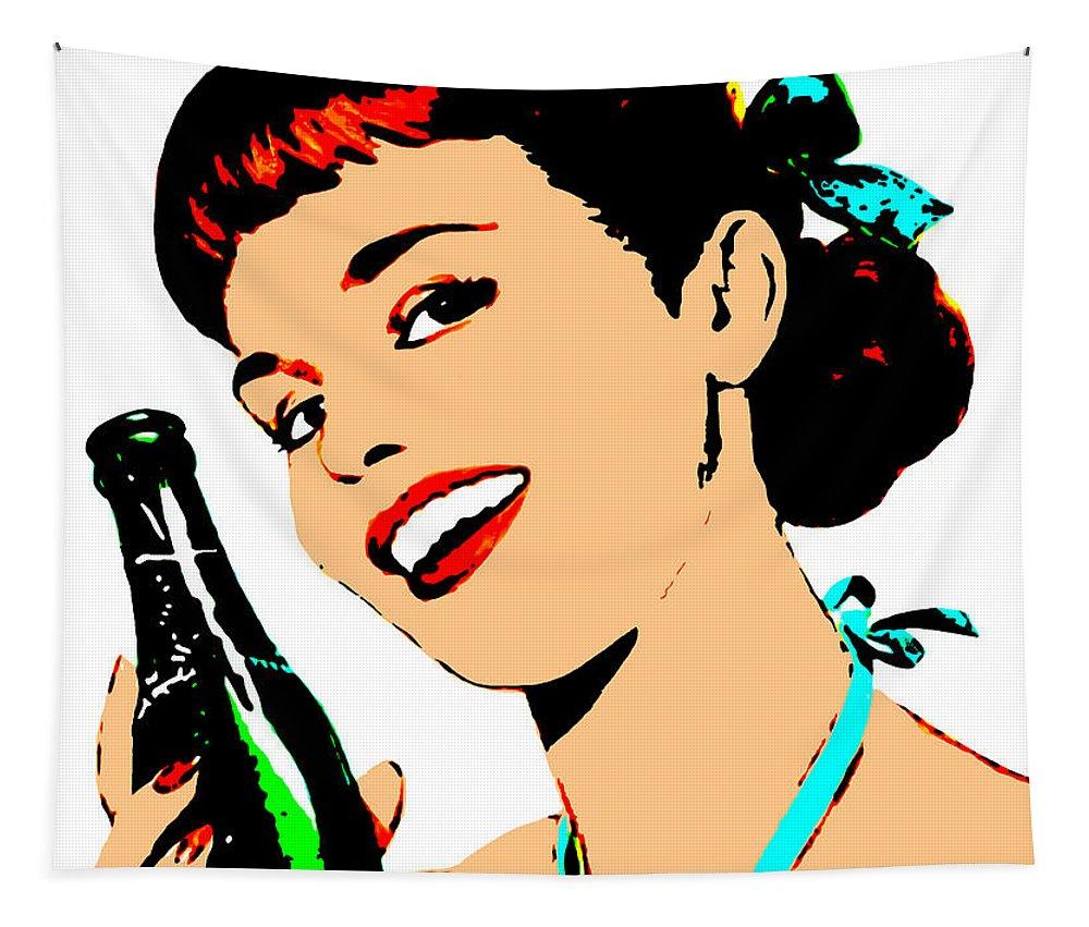 Girl Tapestry featuring the digital art Pop Art Girl With Soda Bottle by Joy McKenzie