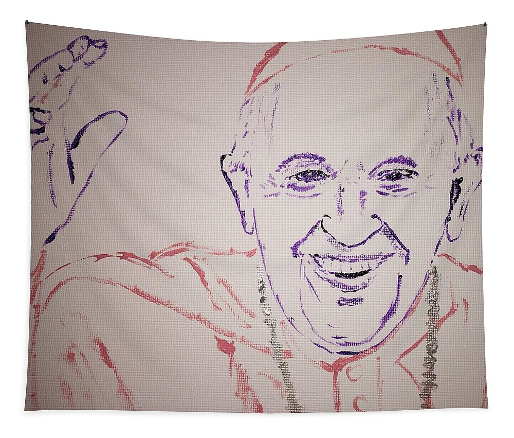 Pope Francis Tapestry featuring the painting Pope Francis Waves by Jack Bunds