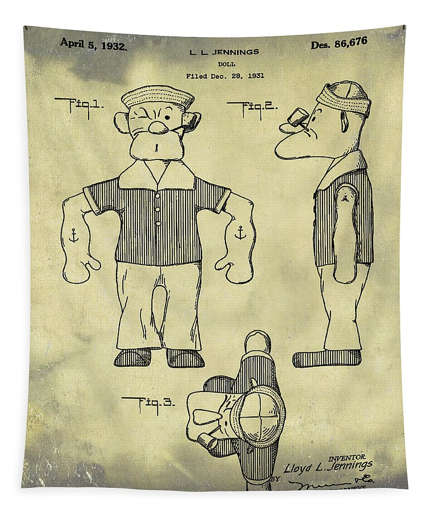 Popeye Tapestry featuring the photograph Popeye Doll Patent 1932 In Weathered by Bill Cannon