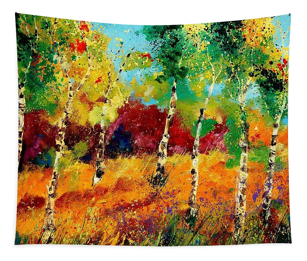 Poppy Tapestry featuring the painting Poplars '459070 by Pol Ledent