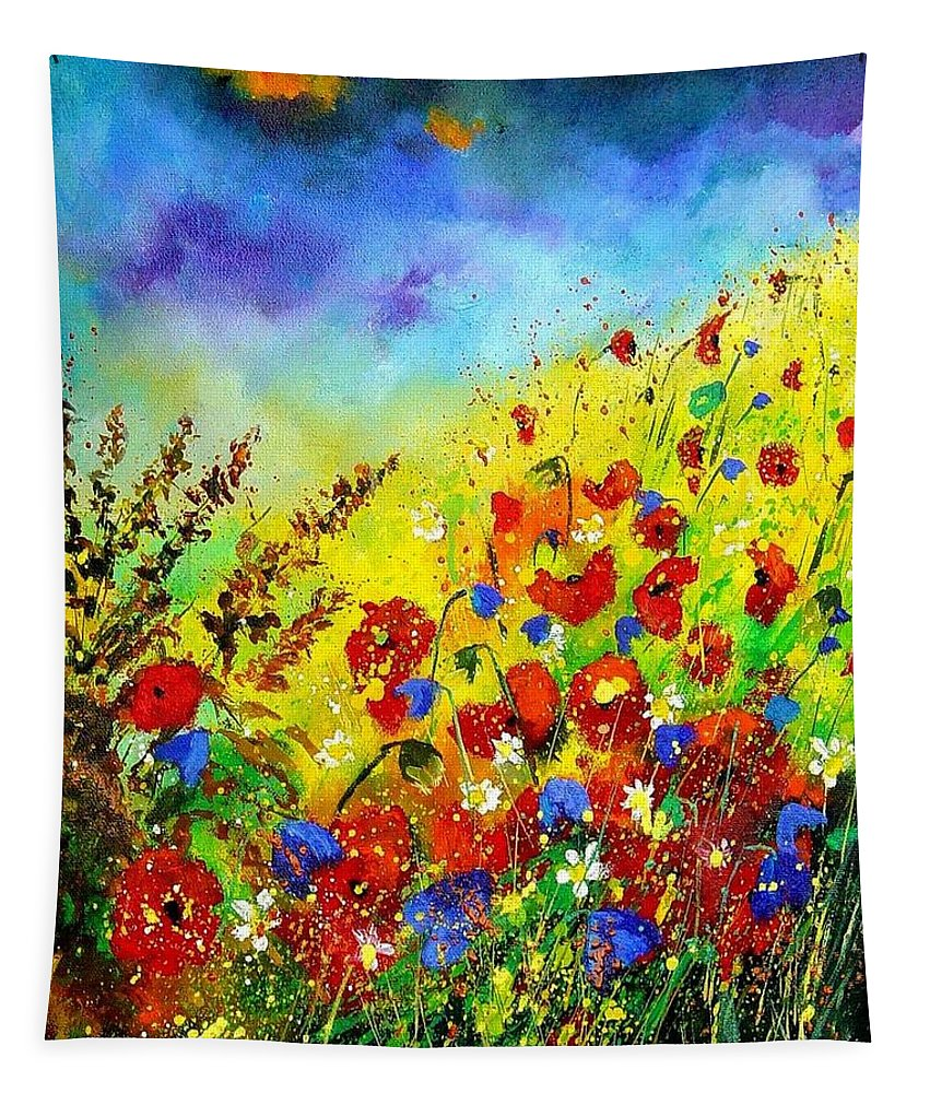 Poppies Tapestry featuring the print Poppies And Blue Bells by Pol Ledent