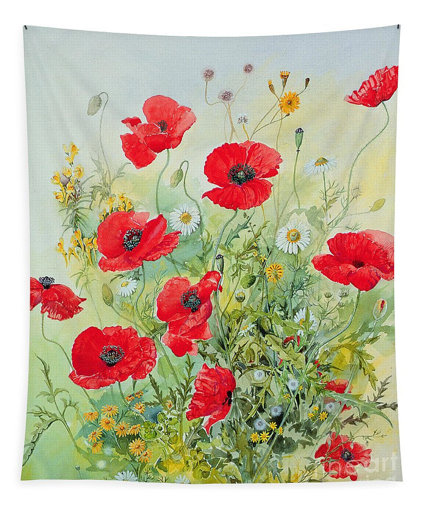 Flowers; Botanical; Flower; Poppies; Mayweed; Leaf; Leafs; Leafy; Flower; Red Flower; White Flower; Yellow Flower; Poppie; Mayweeds Tapestry featuring the painting Poppies and Mayweed by John Gubbins