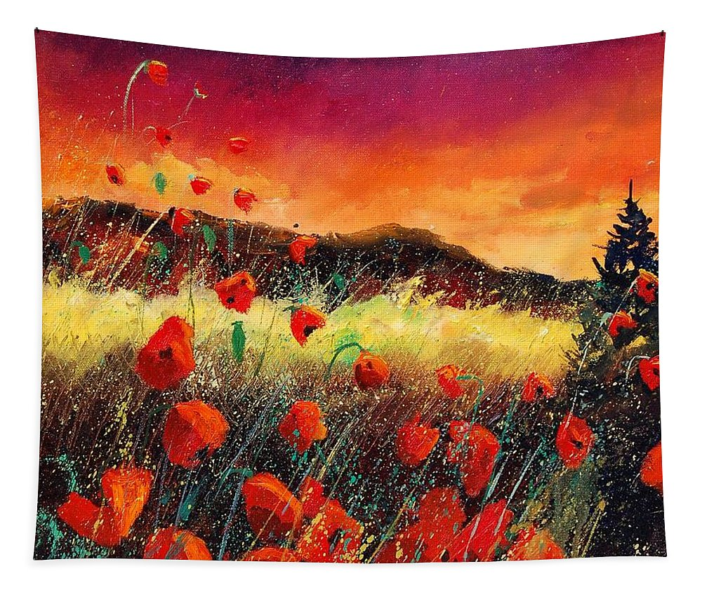 Poppies Tapestry featuring the painting Poppies At Sunset 67 by Pol Ledent