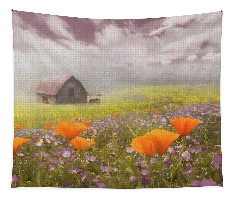 Appalachia Tapestry featuring the photograph Poppies In A Dream Watercolor Painting by Debra and Dave Vanderlaan