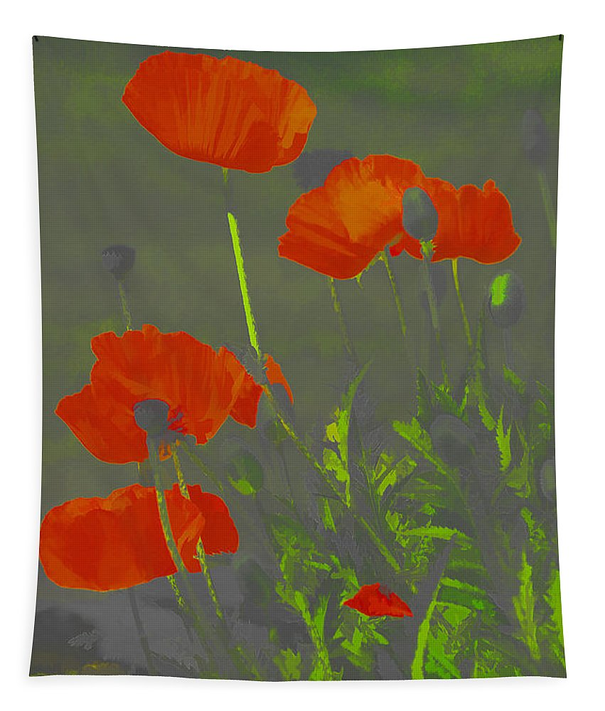 Poppies Tapestry featuring the photograph Poppies In Neon by Deborah Benoit