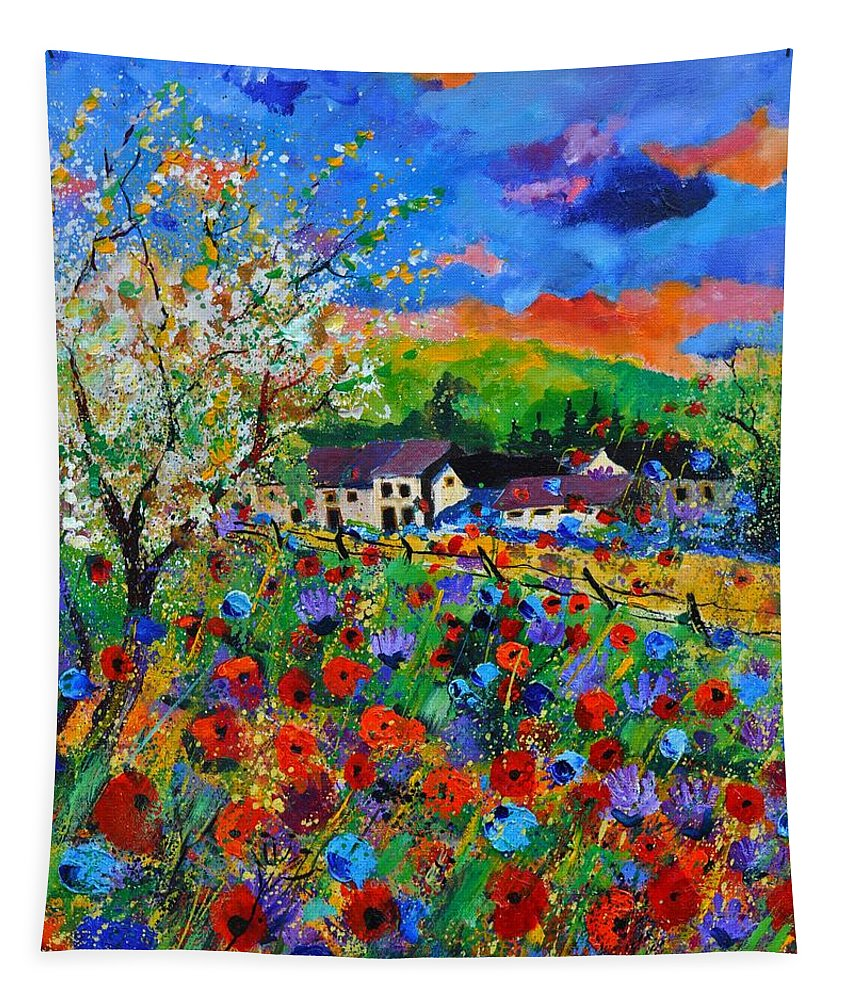 Poppies Tapestry featuring the painting Poppies in Sorinnes by Pol Ledent