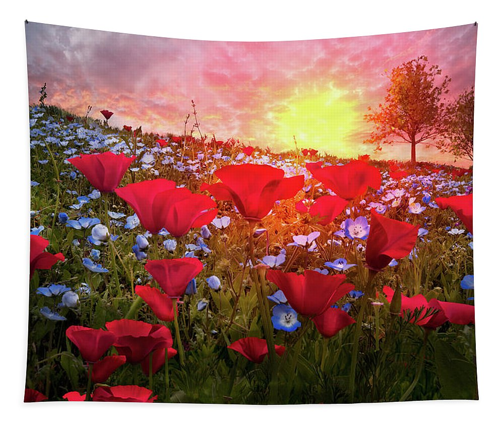 Appalachia Tapestry featuring the photograph Poppy Fields At Dawn by Debra and Dave Vanderlaan
