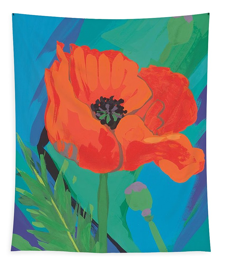 Poppy Tapestry featuring the painting Poppy by Sarah Gillard