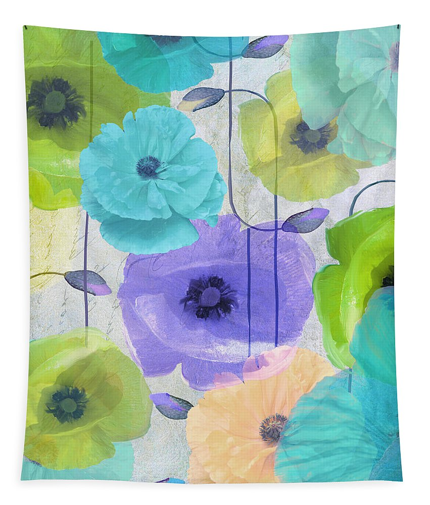 Poppy Tapestry featuring the painting Poppy Shimmer Iv by Mindy Sommers