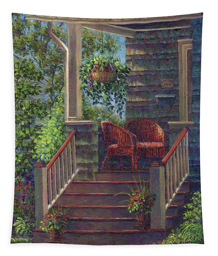 Porch Tapestry featuring the painting Porch With Red Wicker Chairs by Susan Savad