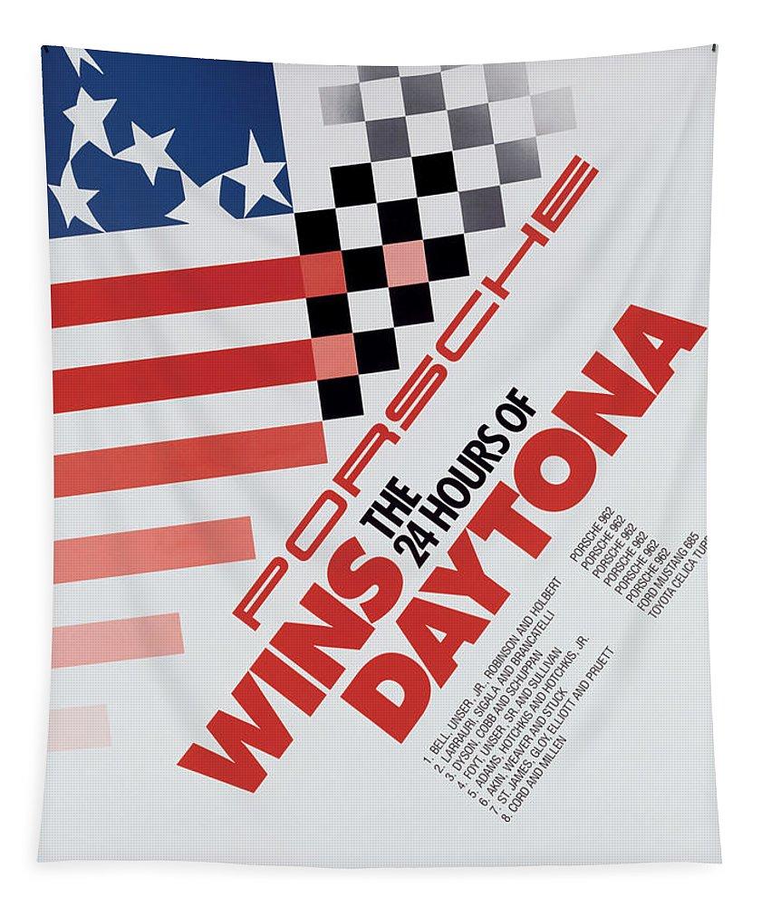 Porsche Tapestry featuring the digital art Porsche 24 Hours of Daytona Wins by Georgia Fowler