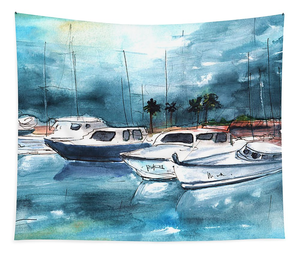 Travel Tapestry featuring the painting Port Alcudia Harbour 01 by Miki De Goodaboom