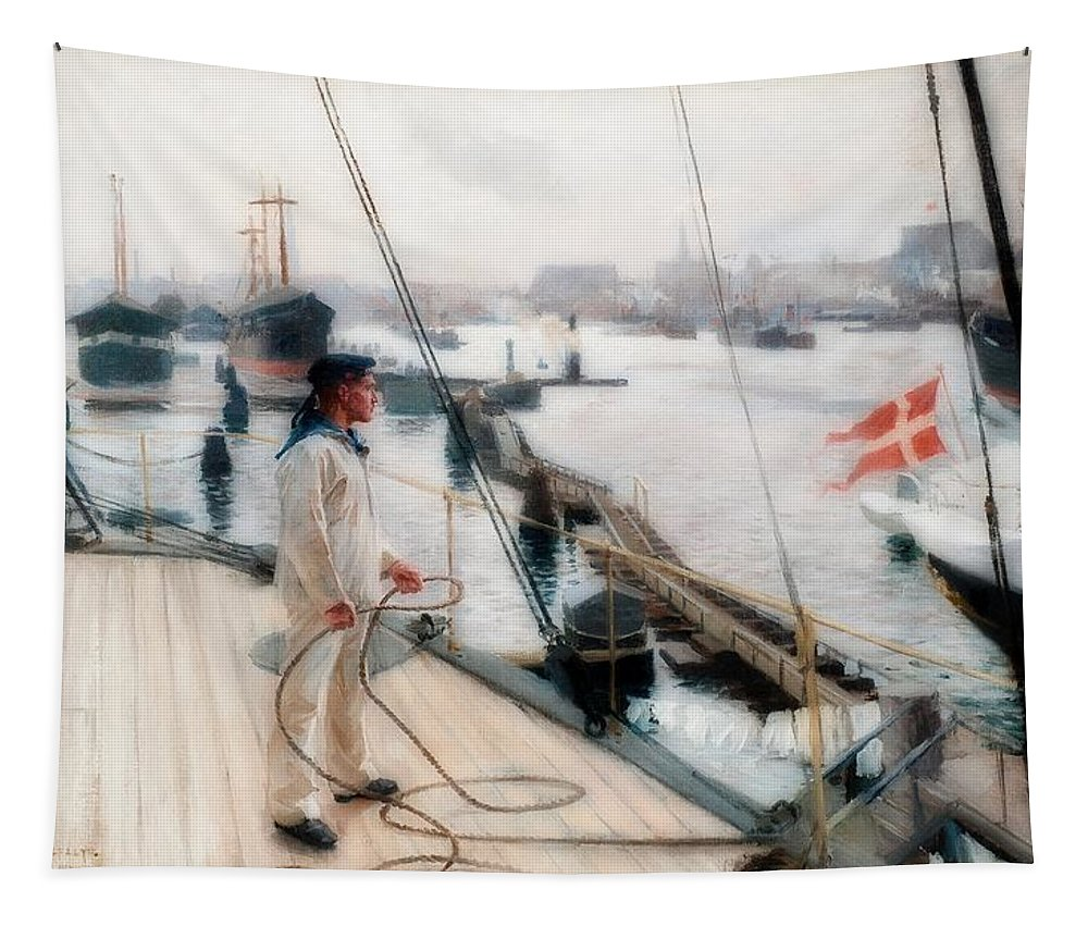Painting Tapestry featuring the painting Port Copenhagen by Albert Edelfelt