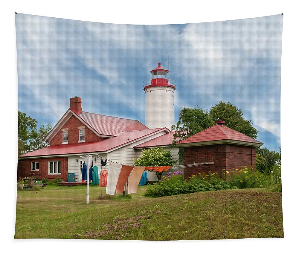 Portage River Jacobsville Lighthouse Tapestry featuring the photograph Portage River - Jacobsville - Lighthouse by Phyllis Taylor