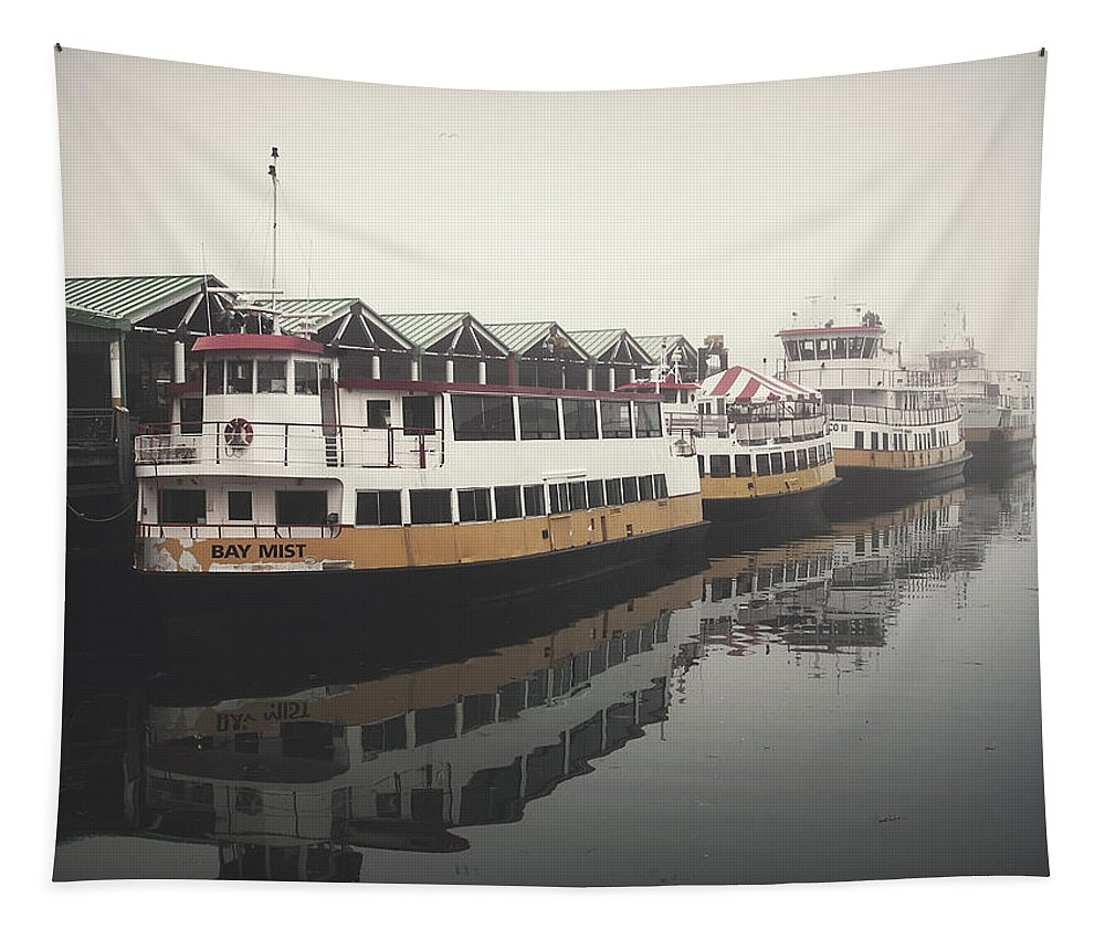 Boats Tapestry featuring the photograph Portland Morning Fog by Bob Orsillo