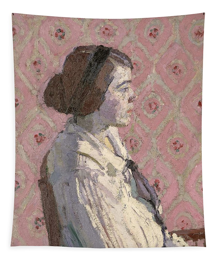 Portrait Tapestry featuring the painting Portrait In Profile by Harold Gilman