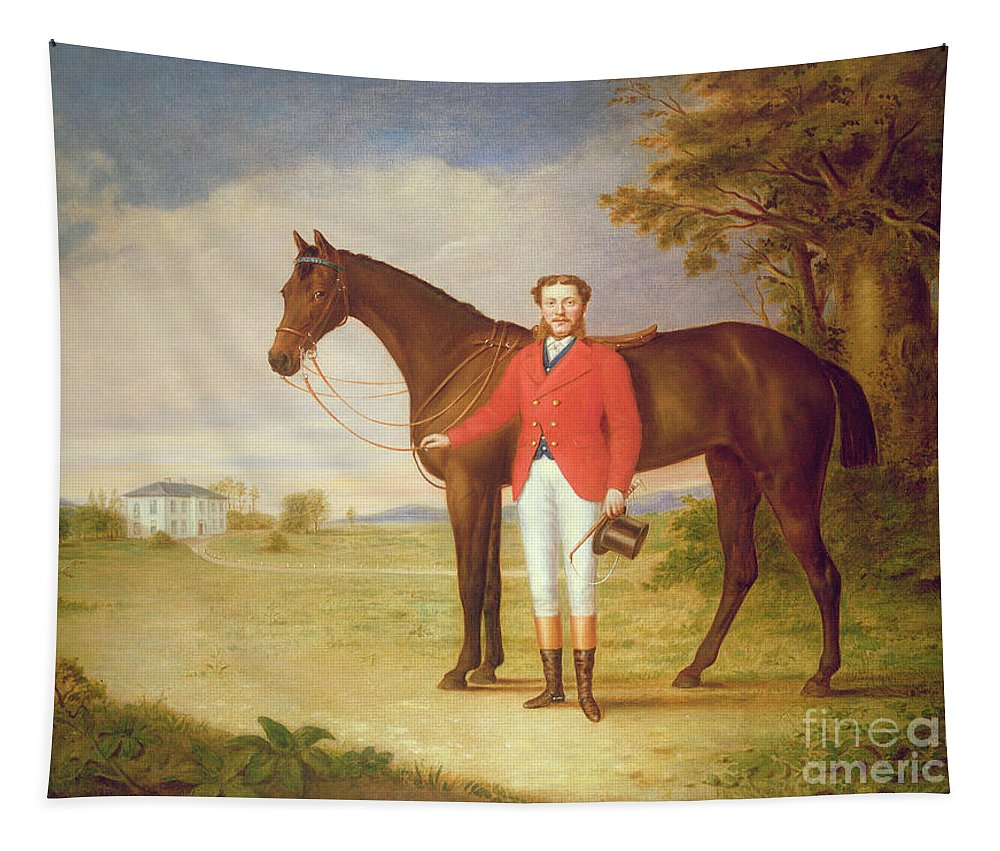 Portrait Tapestry featuring the painting Portrait Of A Gentleman With His Horse by English School