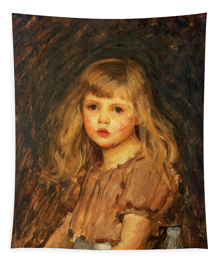 Girl Tapestry featuring the painting Portrait Of A Girl by John William Waterhouse