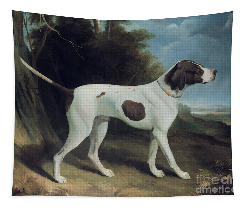 Portrait Of A Liver And White Pointer (oil On Canvas) By George Garrard (1760-1826) Tapestry featuring the painting Portrait Of A Liver And White Pointer by George Garrard